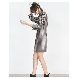Zara Basic Woven Navy and Cream Checkered Dress